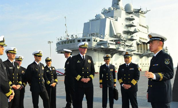 29 US Naval captains visit China's lone aircraft carrier