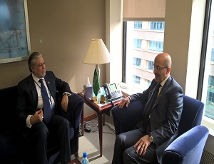 Finance Minister Muhammad Ishaq Dar met with Mr. Mohammad Aljadaan, Finance Minister of Saudi Arabia at the margins of World Bank/IMF Spring meetings, here in Washington DC today.
