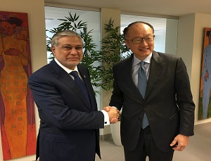 Finance Minister Senator Mohammad Ishaq Dar called on President World Bank Dr Jim Yong Kim during the spring meetings of the World Bank and IMF here today.