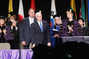 Dozens walk out before Mike Pence\'s commencement address at Taylor University