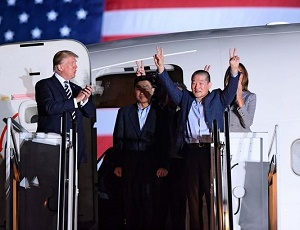 Americans freed from North Korea greeted by Trump as they touch down on U.S. soil