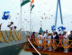 'Shachi and Shruti' - first naval petrol warships launched by private sector shipyard in India.