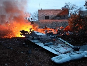Russian fighter jet shot down in Syria\'s Idlib province.