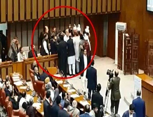 Temperatures run high as PM Abbasi's son, PTI lawmaker clash in Senate.