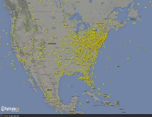 How many flights cross the USA in a day?