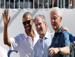 Caption this: Former presidents Obama, Bush and Clinton hang out at the Presidents Cup.