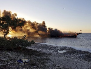 One dead, 50 rescued from Gulf Coast casino boat fire.
