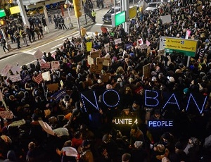 Protest at JFK Airport over Trump refugee ban